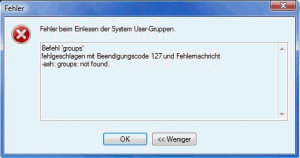 WinSCP Fehler beim Einlesen der System User Gruppen