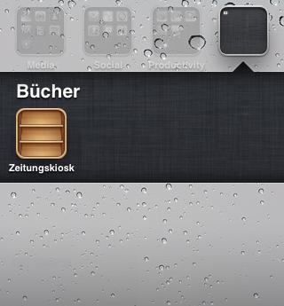 iOS 5: Zeitungskiosk in einen Ordner verschieben