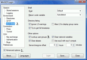 WinSCP lookup user groups deactivate