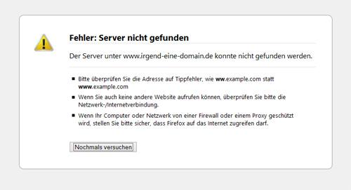 Server wurde nicht gefunden